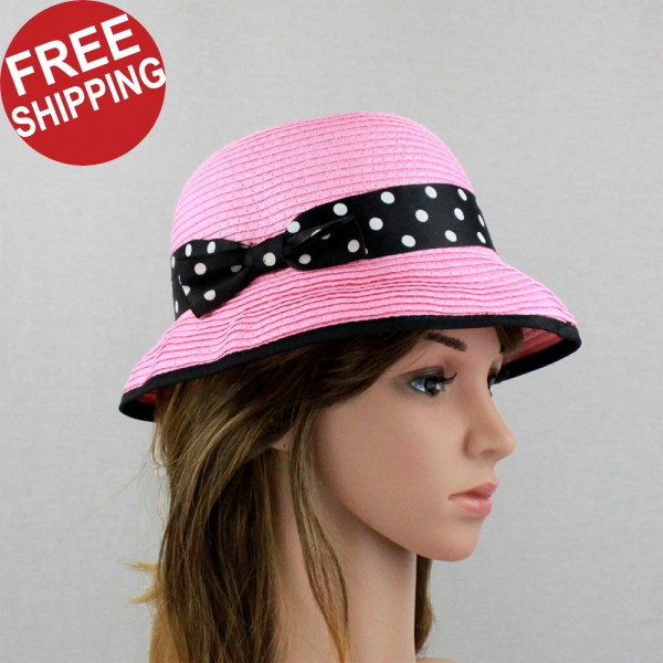 Dollhouse Miniature Ladys Pink Hat with Polka Dot Ribbon Bow G8076