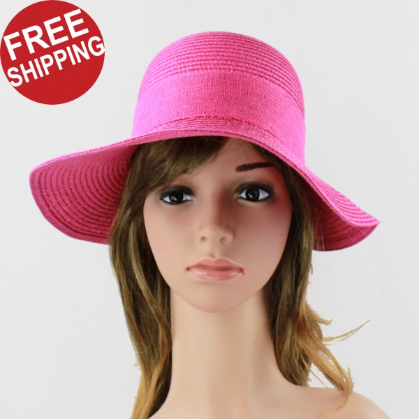 d41a8099a Ladies Floppy Hat Bird Vintage Bow Polka Dotted Ribbon Hot Pink